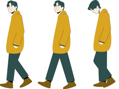 man walking illustration characterdesign digitalart vector indonesia vibrant color illustrator digitalpainting design modern art illustration