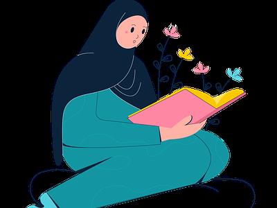 Simple Character of Muslim Girl cartoon people illustration characterdesign indonesia illustrator digitalart design vector digitalpainting illustration