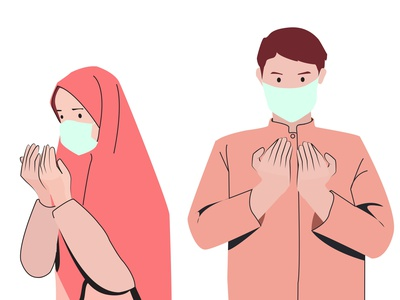 Muslim women and man praying while wearing mask praying pandemic face mask couple muslim couple hijab islam islamic art muslimah muslim illustrator people illustration characterdesign indonesia digitalpainting digitalart vector illustration