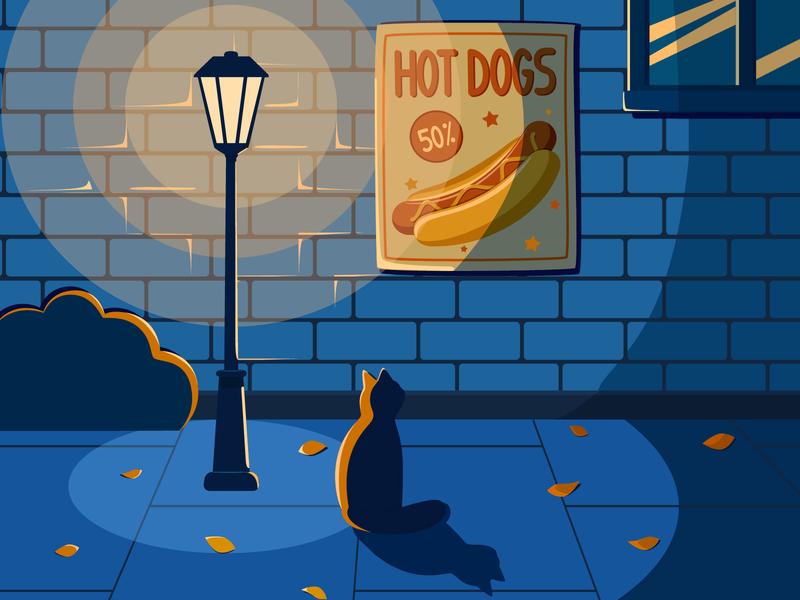In the night lane cat drawing street light cat vector design illustration