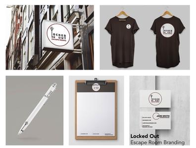 Locked Out Escape Room Branding vector logo design