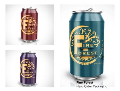 Fine Forest Hard Cider branding typography logo illustration vector design