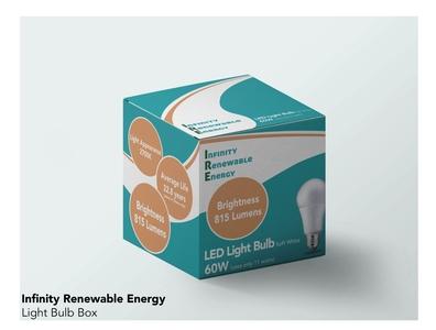 Infinity Renewable Energy Lightbulb Box branding logo typography vector design