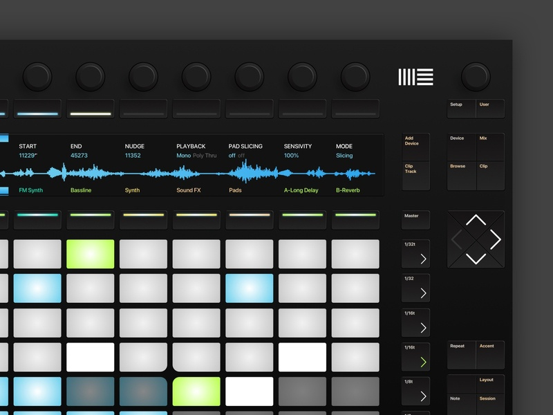 Ableton Push - Skeuomorphic redesign inspiration controller visual redesign ux ableton physical product skeuomorphism skeuomorphic ui design ui