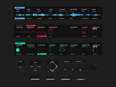 Ableton Push - Components visual ui skeuomorphism skeuomorphic redesign physical product inspiration controller ui components components ableton