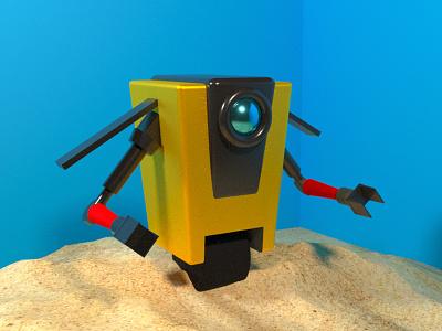 Claptrap - 3D model 3d designer corona c4d 3d design claptrap borderlands inspiration character design corona renderer cinema 4d 3d