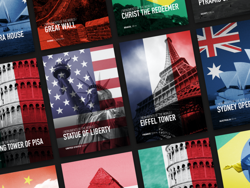 Monuments of the World behance monuments design inspiration posterdesign posters poster graphic design design