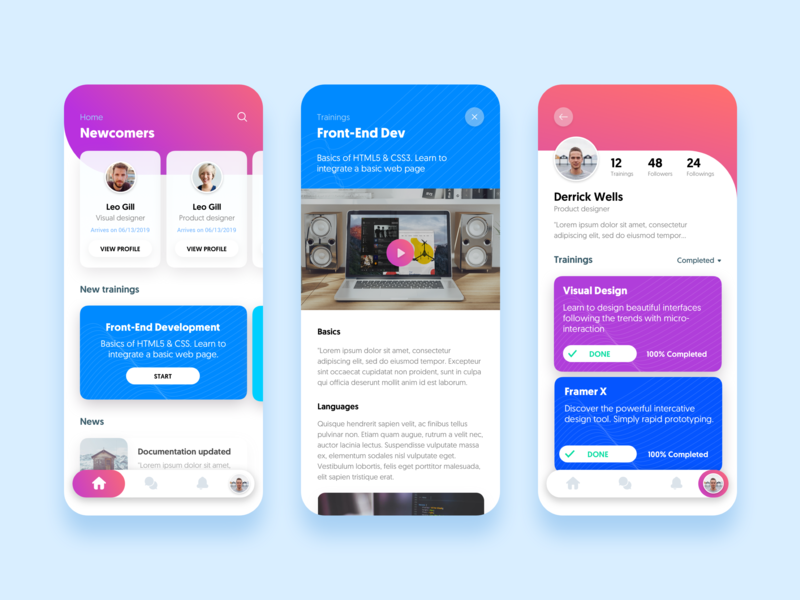 Online Courses - Mobile UI [Day Mode] mobile cards product design courses ux ui design concept apple app