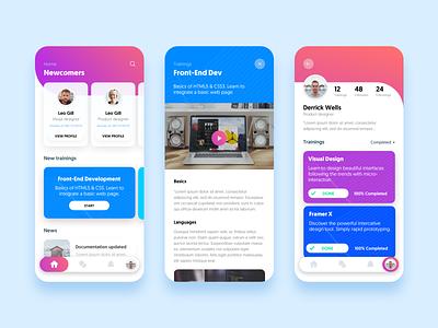 Online Courses - Mobile UI [Day Mode] mobile cards product design courses ux ui design concept apple app