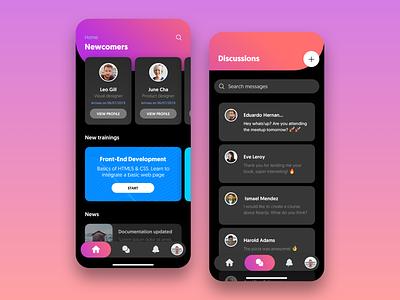 Online Courses - Mobile UI [Night Mode] iphone ux ui product design mobile design courses concept cards apple app