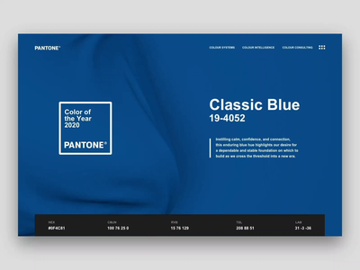 Pantone Color of the Year 2020 | 19-4052 Classic Blue pantone after effects website webdesign web ux ui landing page interface design classic blue cinema4d animation 2020