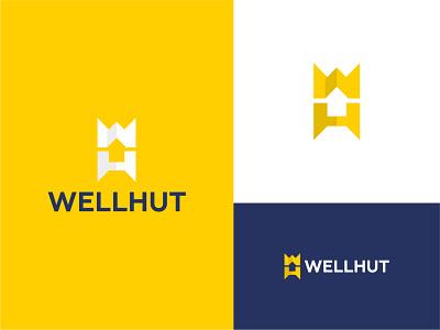 Wellhut | Construction of wooden houses building house hut wellhut identity logo design branding brand