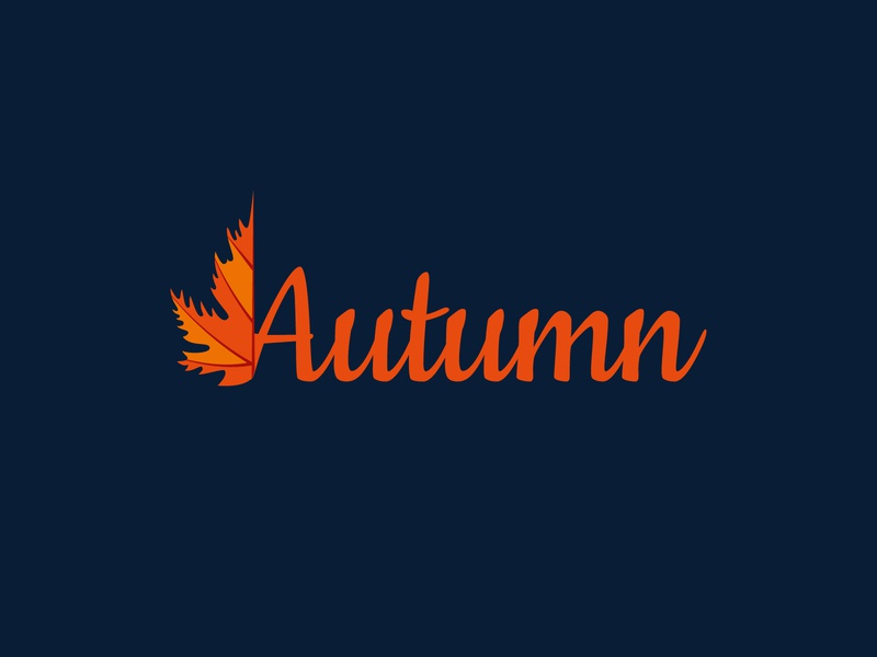 Autumn Logo - Leaf logo text logo autumn leaves leaf minimalist logo unique logo flat design design illustration branding minimal logo design logodesign logo creative logo creative design clean