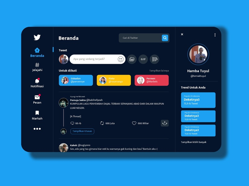 Twitter Redesign UI ui  ux uidesign ui illustration icon flat design branding app design app adobexd