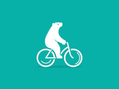 Bear on bike logo cycling bike bear