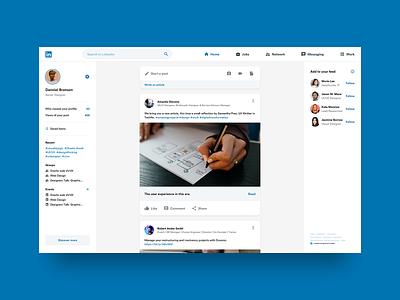 Linkedin re-design uiuxdesign app userinterface interface webdesign web design interaction uxdesign uxui uidesign ui