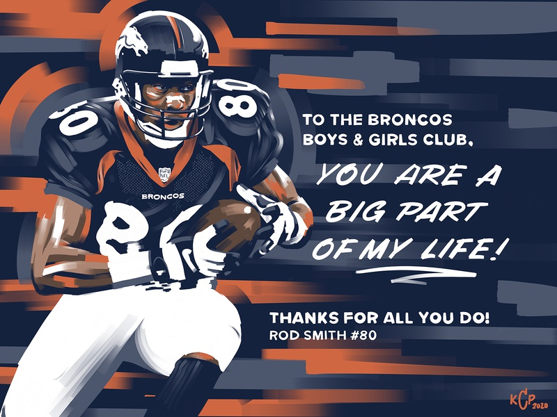 Boys & Girls Club Rod Smith Mural Art colorado denver art youth kids club player alumni ipad procreate nfl football denver broncos broncos