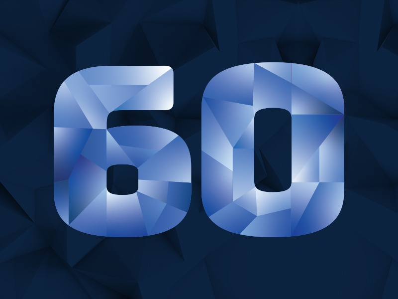 60th, Diamond Jubilee lowpoly geometric angles graphic type blue sports nfl anniversary jubilee diamond 60