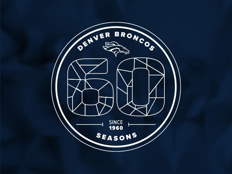 Denver Broncos 60th Season Logo Concept geometric low poly logo 1960 sports nfl season aniversary diamond jubilee diamond 60th 60 coorado denver broncos denver broncos