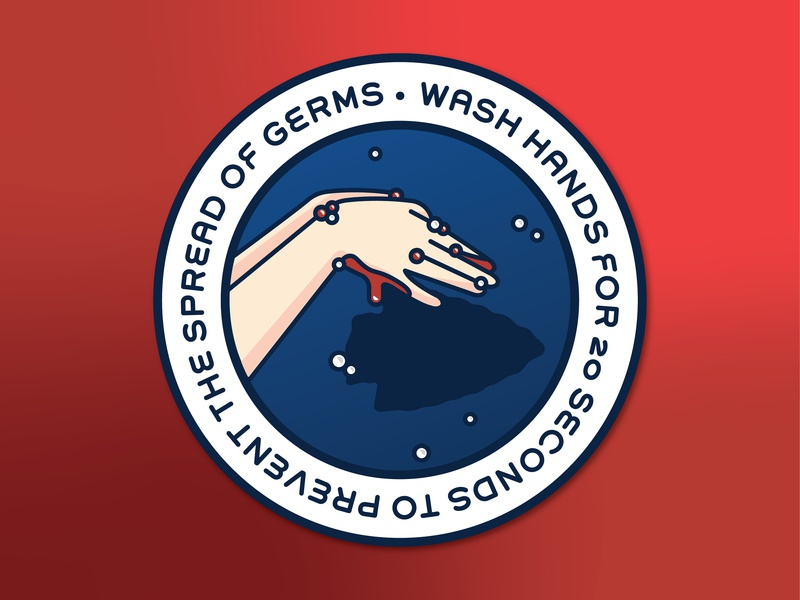 NFL Anti-Germs Graphic Stickers (Chiefs) hand sign shadow puppet pun vector hygiene sports wash hands illustration graphic germs football kansas city chiefs nfl