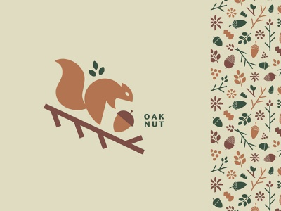 Oak Nut geometry graphic illustration graphic design vector logo minimal allover pattern art pattern design visual identity flowers oaknut chipmunk leaf acorn nut oak squirrel logo squirrel