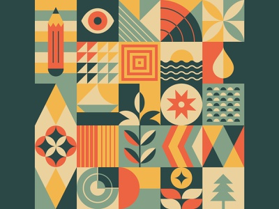 Geometric pattern N°3 vectorial illustration graphic pattern graphic design eye flowers sea provence retro vintage shapes shape elements pattern design patterns pattern geometric art geometric design minimal design vector geometry