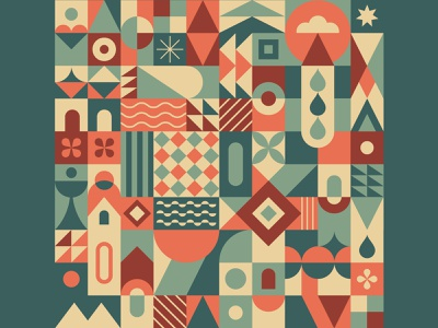 Geometric pattern N°5 square garden town city mosaic patterns pattern geometric pattern geometric illustration geometric geometric design geometrical geometry zixidi artwork leo alexandre illustration minimal vector design