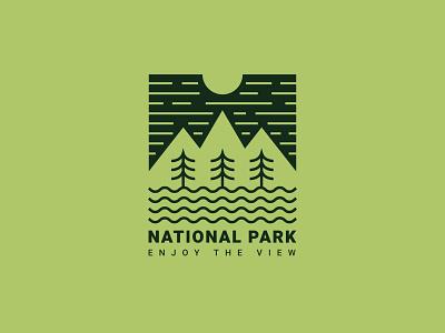 National Park pine tree area conservation preserve biosphere sanctuary refuge natural landscape reserve national park wildlife nature source mountain logo minimal design vector line art