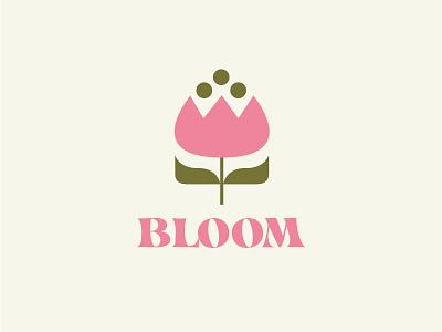 Bloom vector design leo alexandre wildlife nature shop girl florist minimal blossom bloom logo girly plant pink rose flower