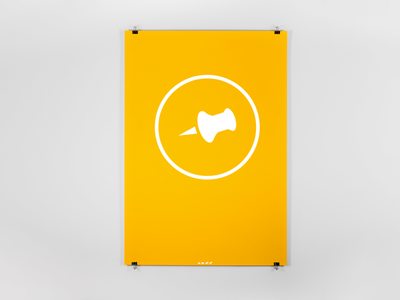 Pin Poster yellow vector illustration design