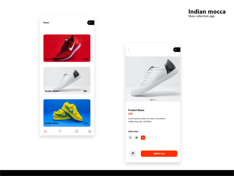 Indian mocca stores shopping app shopping e commerce store app branding clean design clean ui top ux ui designer ux ui app flat design minimal simplicity app design shoes shoes store shoes app
