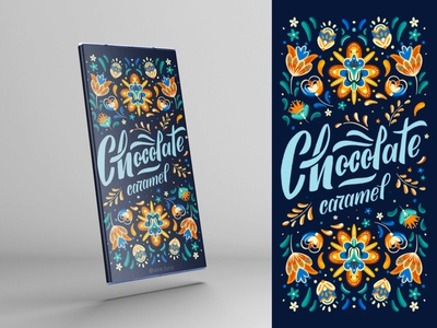 Chocolate package design | Lettering and Folkart procreate illustration handlettering packaging calligraphy design digital lettering typogaphy letters folkart chocolate lettering package design
