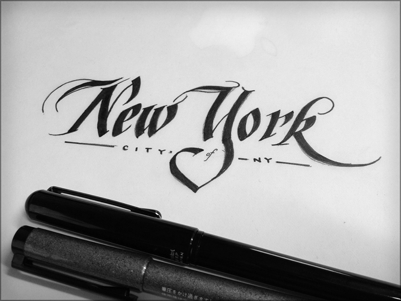 Toodles 39: City of NY lettering calligraphy hand drawn new york