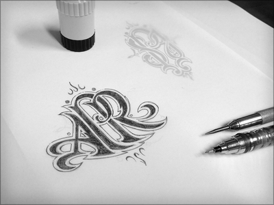 Monogrammin' Part Deux sketch hand drawn lettering pencils monogram tattoo