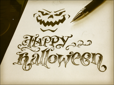Toodles 40: All Hallows sketch hand drawn lettering pencils inks halloween