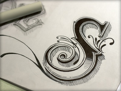 Just an 'S' sketch illustration inked lettering wip hand drawn