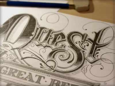 Quest sketch illustration hand drawn pencils lettering