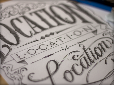Location, location, location sketch illustration hand drawn pencils lettering ribbon flourish