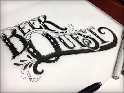 BQ branding lettering illustration sketch black and white inked logo
