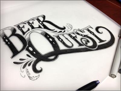 BQ branding lettering illustration sketch black and white inked logo