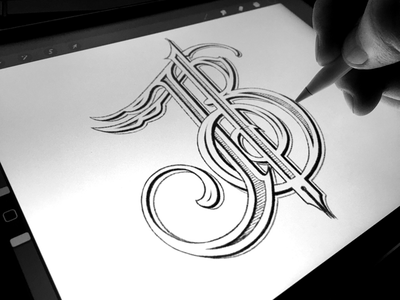 Personal Branding - Monogram W.I.P. procreate ipad pro apple pencil lettering hand drawn