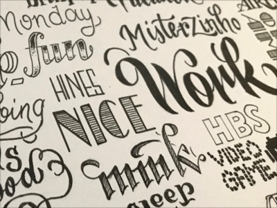 Anniversary Lettering inked hand drawn lettering