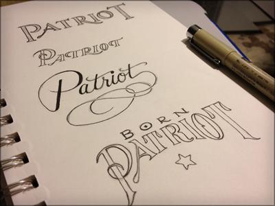 Toodles 27: Patriot sketch illustration hand drawn lettering toodles inked