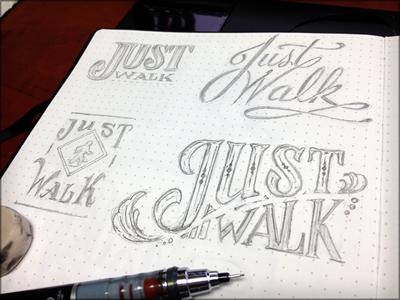 Toodles 28: Just Walk sketch illustration hand drawn pencils lettering toodles