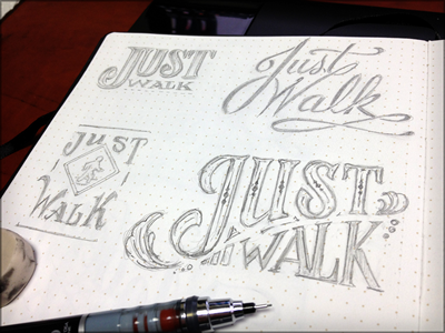 Toodles 28: Just Walk sketch illustration hand drawn pencils lettering toodles