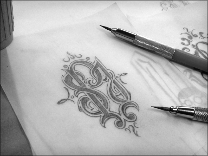 Monogrammin' lettering pencils hand drawn sketch tattoo monogram