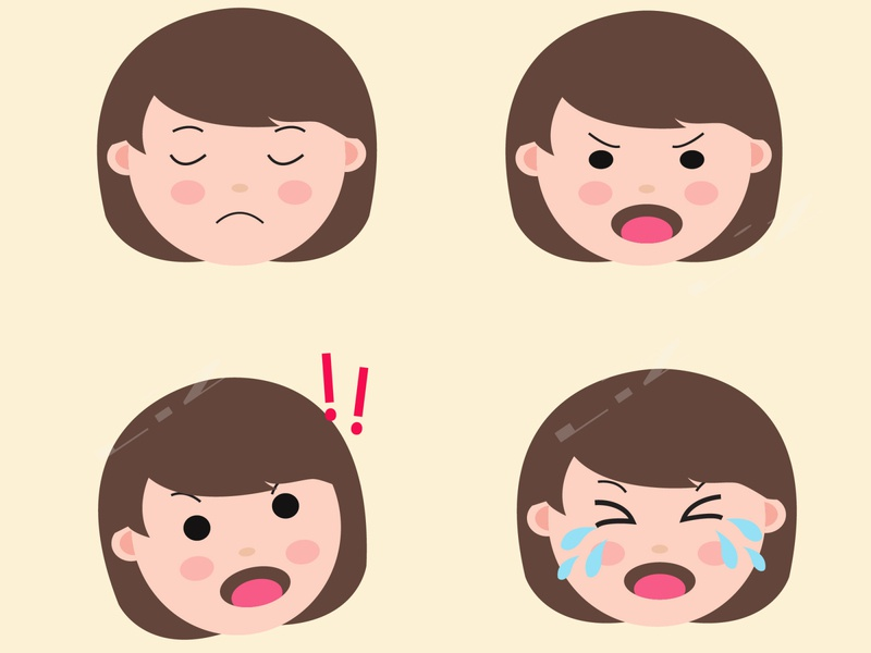 Set Cute Girl Emoji avatar emoji set chidren character vector flat design illustration