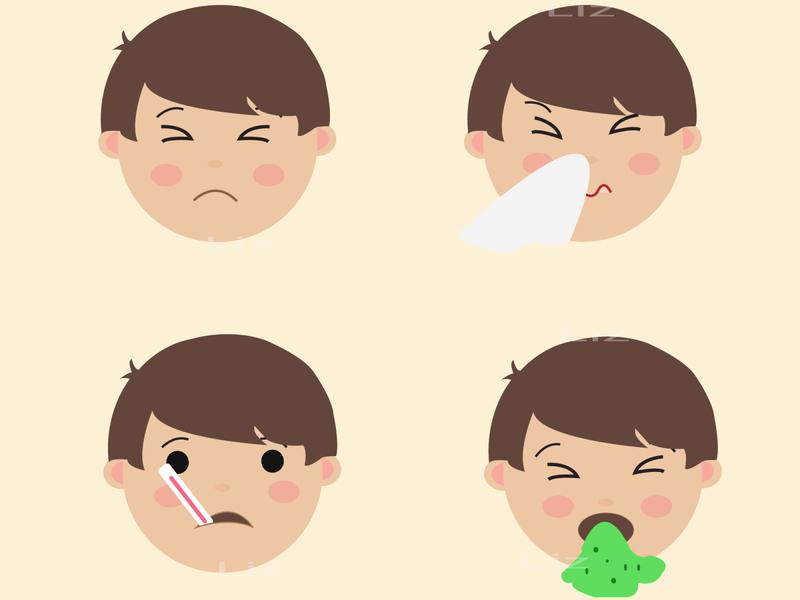 Set Cute Boy Emoji Sick corona virus covid-19 emoji set chidren character flat vector design illustration