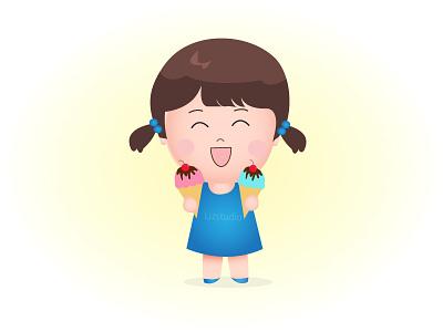 Cute Girl with Double Ice Cream character happy ice cream design illustration children