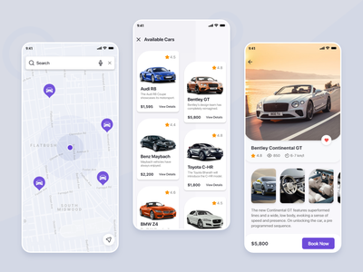 Car Rental App flat minimal ui cards ui rental app car app branding design